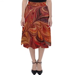 Marbled Paper Mottle Color Movement Classic Midi Skirt