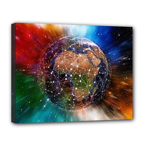Network Earth Block Chain Globe Canvas 14  X 11  (stretched) by Pakrebo