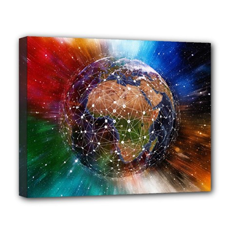 Network Earth Block Chain Globe Deluxe Canvas 20  X 16  (stretched) by Pakrebo