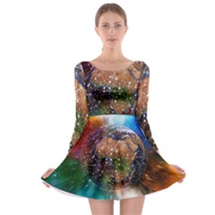 Network Earth Block Chain Globe Long Sleeve Skater Dress
