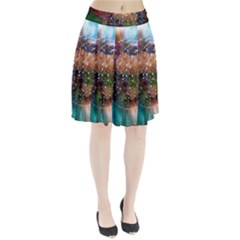 Network Earth Block Chain Globe Pleated Skirt