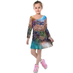 Network Earth Block Chain Globe Kids  Long Sleeve Velvet Dress
