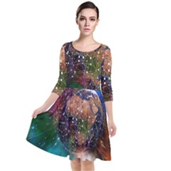 Network Earth Block Chain Globe Quarter Sleeve Waist Band Dress