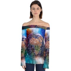 Network Earth Block Chain Globe Off Shoulder Long Sleeve Top