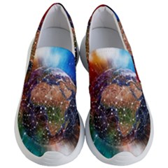 Network Earth Block Chain Globe Women s Lightweight Slip Ons