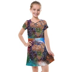 Network Earth Block Chain Globe Kids  Cross Web Dress by Pakrebo