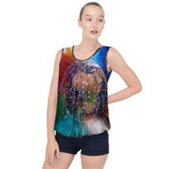 Network Earth Block Chain Globe Bubble Hem Chiffon Tank Top