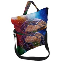 Network Earth Block Chain Globe Fold Over Handle Tote Bag