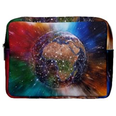 Network Earth Block Chain Globe Make Up Pouch (large)