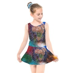 Network Earth Block Chain Globe Kids  Skater Dress Swimsuit