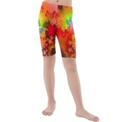 Background Abstract Color Form Kids  Mid Length Swim Shorts