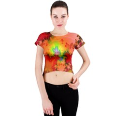Background Abstract Color Form Crew Neck Crop Top