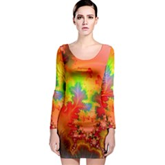 Background Abstract Color Form Long Sleeve Bodycon Dress