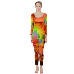 Background Abstract Color Form Long Sleeve Catsuit