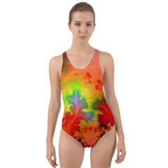 Background Abstract Color Form Cut Out Back One Piece Swimsuit