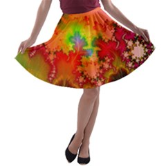 Background Abstract Color Form A Line Skater Skirt