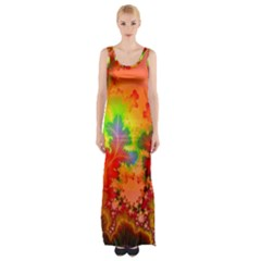 Background Abstract Color Form Maxi Thigh Split Dress