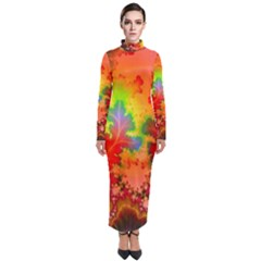 Background Abstract Color Form Turtleneck Maxi Dress