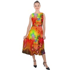 Background Abstract Color Form Midi Tie Back Chiffon Dress