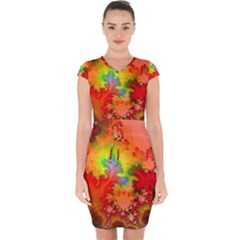 Background Abstract Color Form Capsleeve Drawstring Dress