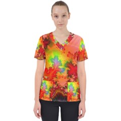 Background Abstract Color Form Women s V Neck Scrub Top