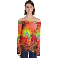 Background Abstract Color Form Off Shoulder Long Sleeve Top