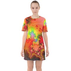 Background Abstract Color Form Sixties Short Sleeve Mini Dress