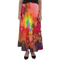 Background Abstract Color Form Flared Maxi Skirt