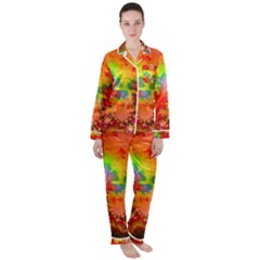 Background Abstract Color Form Satin Long Sleeve Pyjamas Set