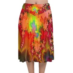 Background Abstract Color Form Velvet Flared Midi Skirt