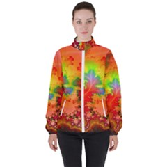 Background Abstract Color Form Women s High Neck Windbreaker