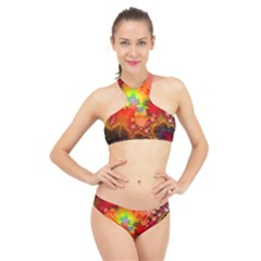 Background Abstract Color Form High Neck Bikini Set