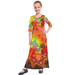 Background Abstract Color Form Kids  Quarter Sleeve Maxi Dress