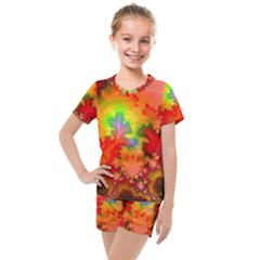 Background Abstract Color Form Kids  Mesh Tee And Shorts Set