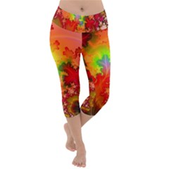 Background Abstract Color Form Lightweight Velour Capri Yoga Leggings