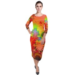 Background Abstract Color Form Quarter Sleeve Midi Velour Bodycon Dress