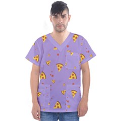 Pizza Pattern Violet Pepperoni Cheese Funny Slices Men s V Neck Scrub Top