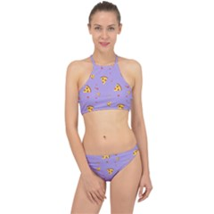 Pizza Pattern Violet Pepperoni Cheese Funny Slices Racer Front Bikini Set by genx