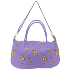 Pizza Pattern Violet Pepperoni Cheese Funny Slices Removal Strap Handbag