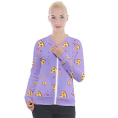 Pizza Pattern Violet Pepperoni Cheese Funny Slices Casual Zip Up Jacket by genx