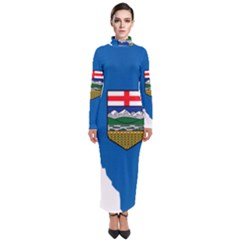 Flag Map Of Alberta Turtleneck Maxi Dress by abbeyz71