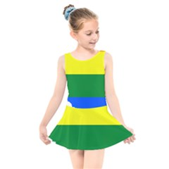 Lgbt Flag Map Of Alberta Kids  Skater Dress Swimsuit by abbeyz71