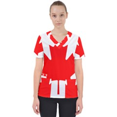 National Flag Of Canada Women s V Neck Scrub Top by abbeyz71