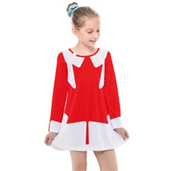 National Flag Of Canada Kids  Long Sleeve Dress