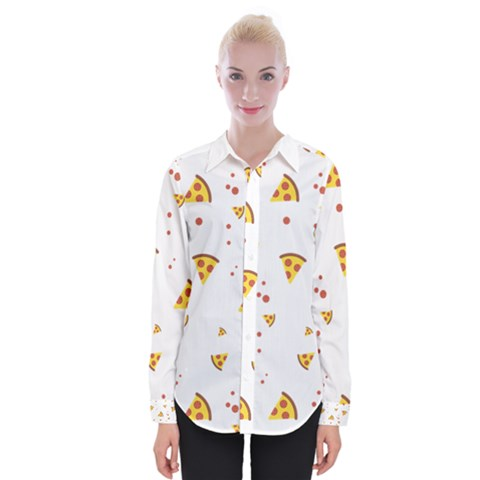 Pizza Pattern Pepperoni Cheese Funny Slices Womens Long Sleeve Shirt by genx