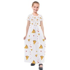 Pizza Pattern Pepperoni Cheese Funny Slices Kids  Short Sleeve Maxi Dress by genx