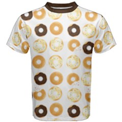 Donuts Pattern With Bites Bright Pastel Blue And Brown Cropped Sweatshirt Men s Cotton Tee by genx