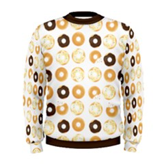 Donuts Pattern With Bites Bright Pastel Blue And Brown Cropped Sweatshirt Men s Sweatshirt by genx
