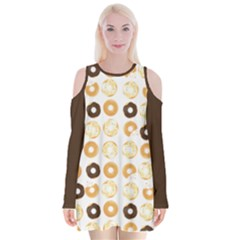 Donuts Pattern With Bites Bright Pastel Blue And Brown Cropped Sweatshirt Velvet Long Sleeve Shoulder Cutout Dress by genx
