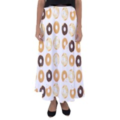 Donuts Pattern With Bites Bright Pastel Blue And Brown Cropped Sweatshirt Flared Maxi Skirt by genx